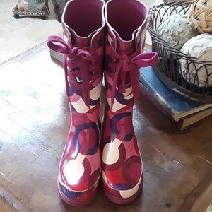 Coach Signature Periwinkle Rain Boots